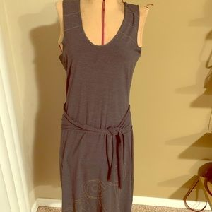 Cute gray midi dress with tie front detail